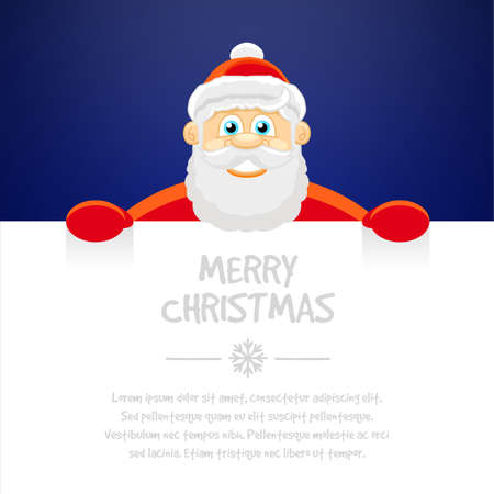 Happy Santa Claus over white blank. Merry Christmas, vector illustration
