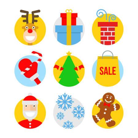 Christmas icons, flat design Vector