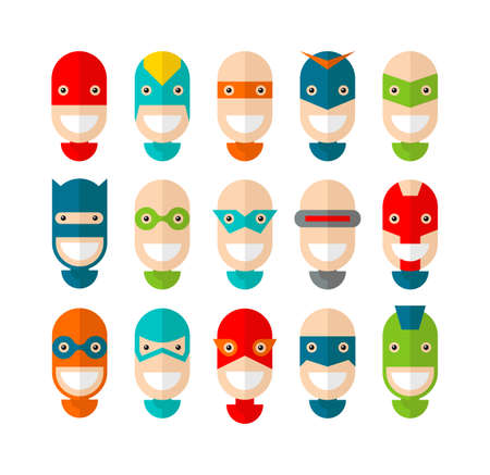 Happy superhero character, flat design, vector illustration