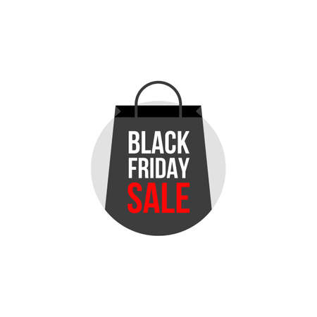 Black friday sale icon with shopping bag, flat design, vector illustration