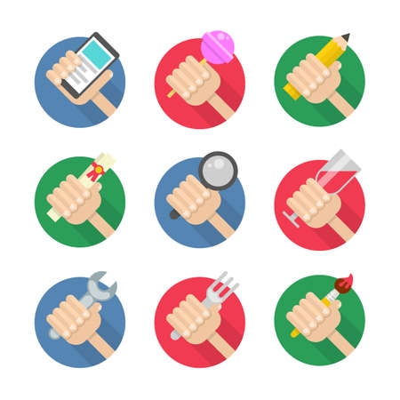 Vector set of flat hand icons holding smart phone, lollipop, pencil, certificate,  magnifying glass, wineglass, wrench, fork and paint brush Vector
