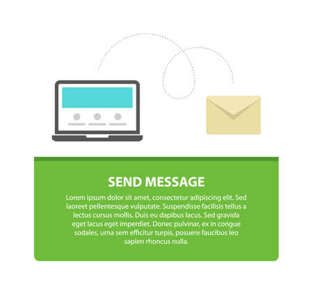 Smart phone send message design concept, flat vector illustration