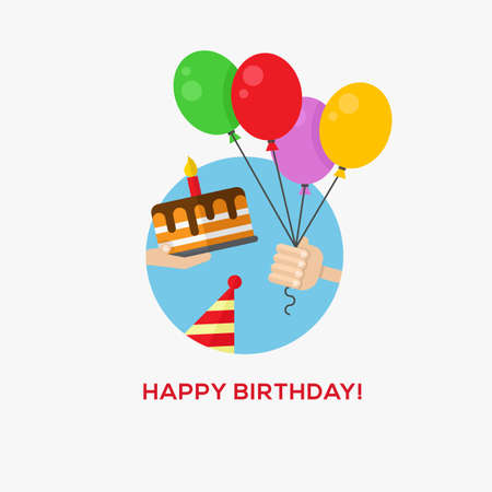 Happy birthday icon, hand with balloons and cake Vector