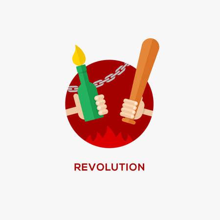 molotov: Revolution design concept. Symbol of protest. Hand with baseball bat and Molotov cocktail, flat design, vector illustration Illustration