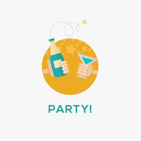 Party icon, flat design, vector illustration