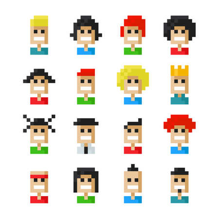 Pixel avatar icons Vector