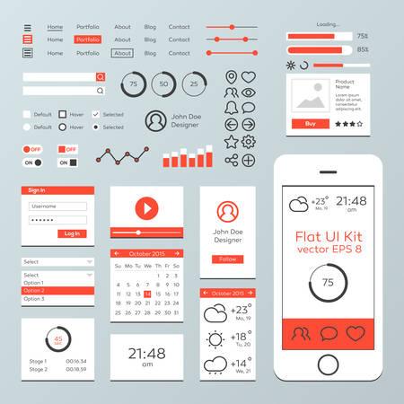 Flat Mobile Web UI Kit  イラスト・ベクター素材