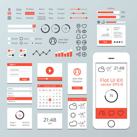 website template: Flat Mobile Web UI Kit Illustration