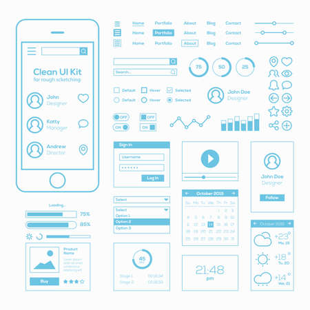 Clean Mobile Web UI Kit Vector