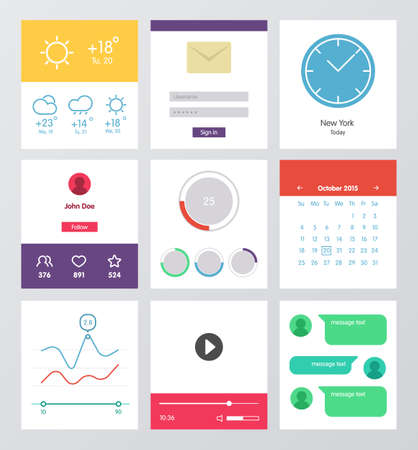 Set of flat design UI and UX elements 矢量图像