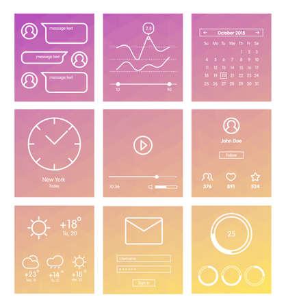 estado del tiempo: Conjunto de la interfaz de usuario de dise�o minimalista y elementos UX