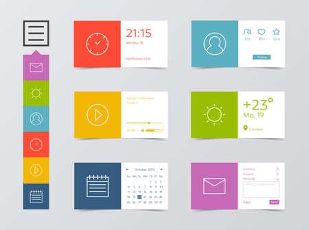 Flat Mobile Web UI Kit Illustration