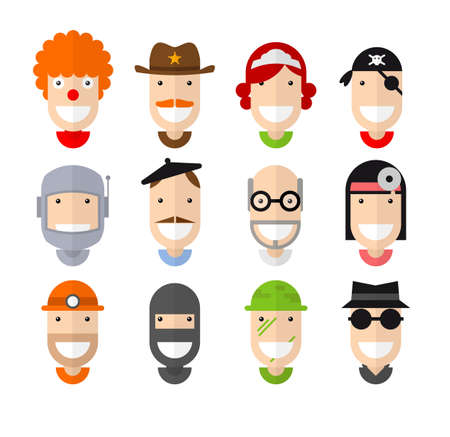 pitman: Happy smiling professions character, flat design, vector illustration