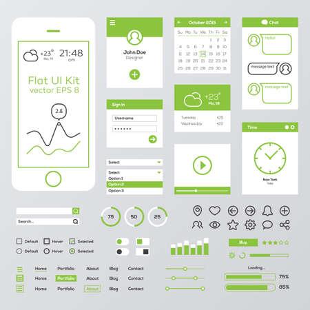 Flat Green Mobile Web UI Kit