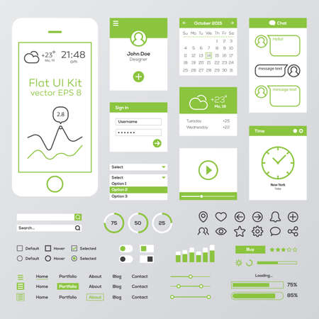 Flat Green Mobile Web UI Kit