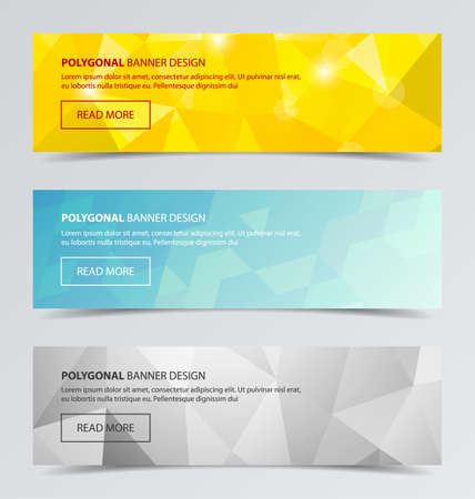 vector banners or headers: 3 Polygonal banners for business modern background design vector illustration. Geometric background.