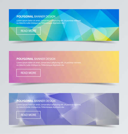 3 Polygonal banners for business modern background design vector illustration. Geometric background.