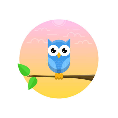 Blue owl on the branch with two green leaves