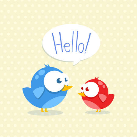 Blue and red bird with big eyes Illustration