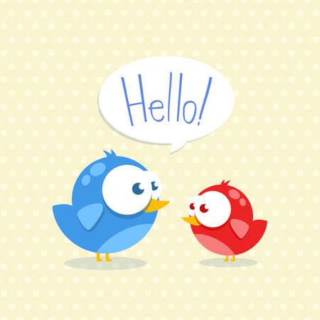 Oiseau bleu et rouge avec de grands yeux Vecteurs