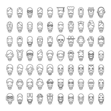 70 Happy Character People Icons - Male, Female, Professions, Superheroes. Line Design, Vector illustration