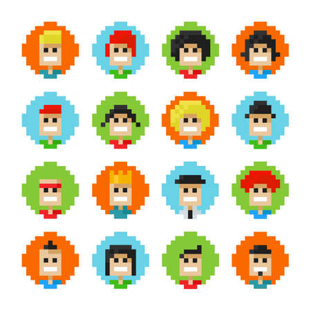 16 Circles Pixel Male And Female Faces Avatars. Vector Illustration. 8 Bit Graphic Style