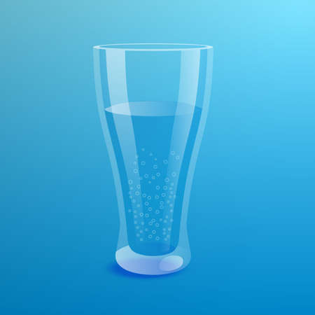 Glass of mineral water on blue