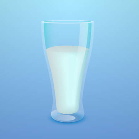 Glass of milk on blue  Illustration