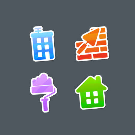 renovations: Striped Multicolored Stickers Construction Icons. Vector Illustration. Illustration
