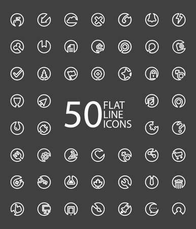 Set Of 50 Minimal Flat Line Icons