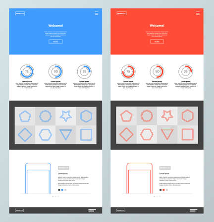 Blue and red website design template. Minimal style. Landing page.
