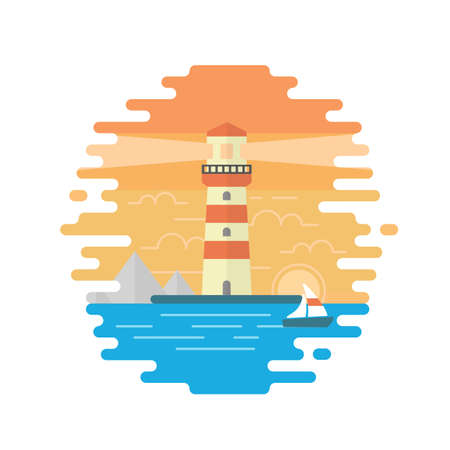 vessel: Lighthouse. Seascape. Flat design illustration