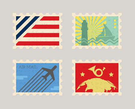Vintage color post stamps for mail envelope, illustration Illustration