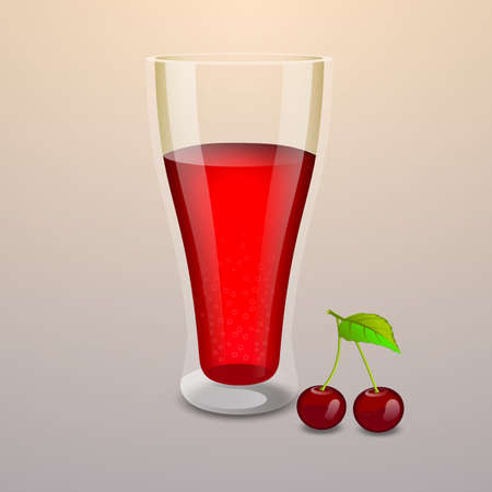 Realistic cherry juice glass