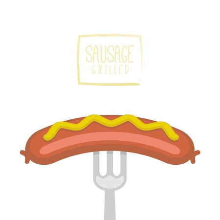 Sausage prick with a fork isolated on a white background. Vector illustration