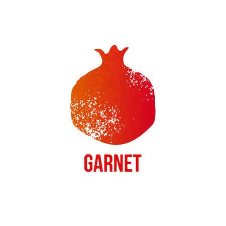 pomegranate juice: Vector grunge garnet icon isolated on white background