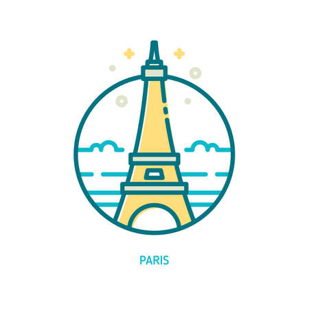 Trendy vector line Eiffel tower icon. Paris, France