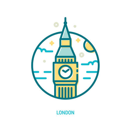 Trendy vector line Big Ben icon. London, England Illustration