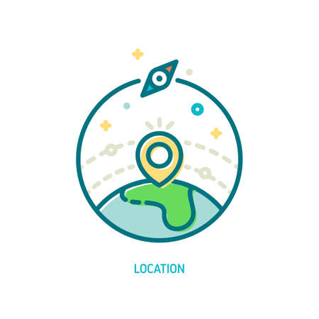 Trendy vector line location icon. Illustration of map pin on earth globe and compass symbol