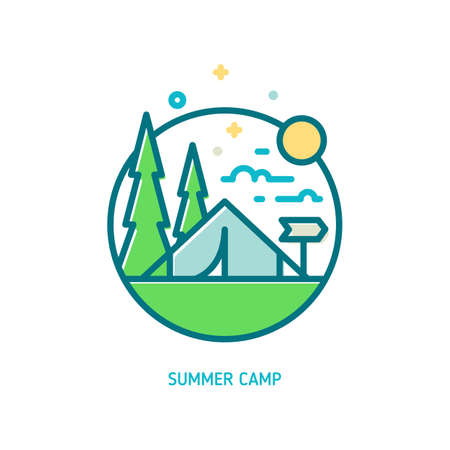Trendy vector line summer camp icon. Vector illustration of camping tent, green trees, sun and clouds