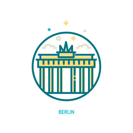 Trendy vector line Brandenburg gate icon. Berlin, Germany Illustration