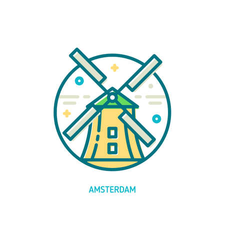 Trendy vector line windmill icon. Amsterdam, Netherlands