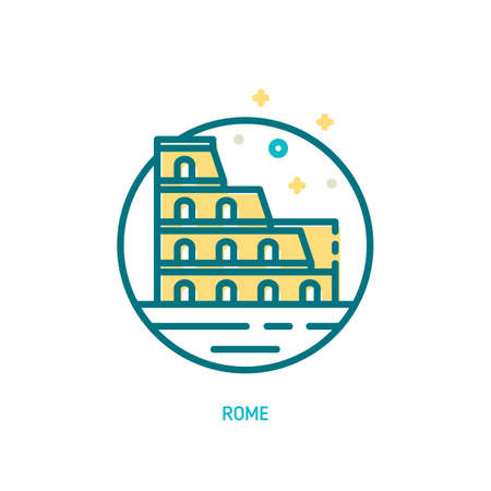 Trendy vector line Coliseum icon. Rome, Italy Illustration