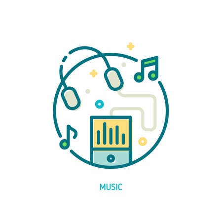 music player: Trendy vector line music icon. Illustration of music player and flying headphones with music notes