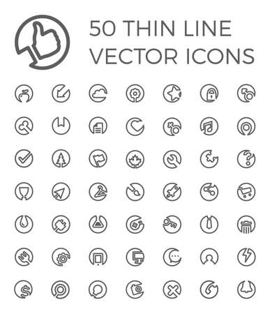 50 thin line vector icons