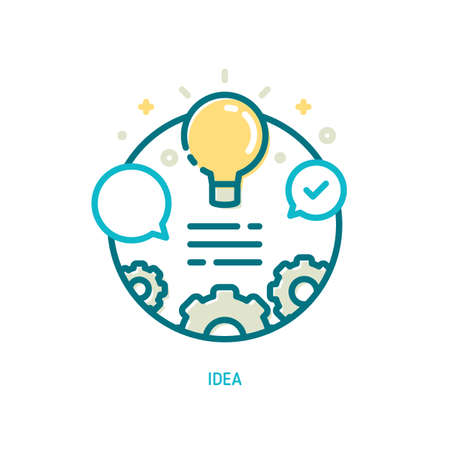 Trendy vector line idea icon. Idea concept of switch on light bulb, bubble speech and gears Illustration