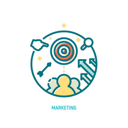 Trendy vector line marketing icon. User targeting concept. Illustration