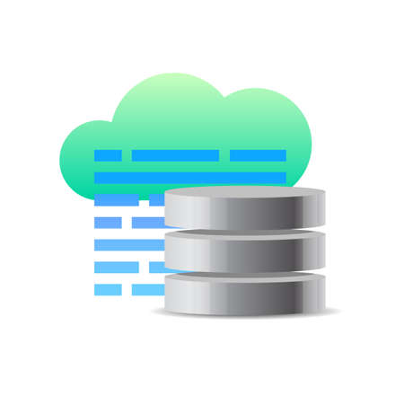 Database icon concept. Vector illustration of cloud, code and database server Illustration