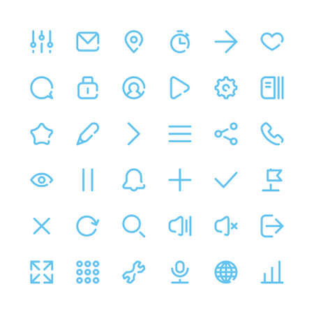 Most Useful Web and Mobile Icons for Interfaces. Vector Design Elements Set. Thin Line style.