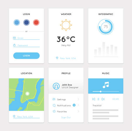 Clean White Mobile Web UI Kit. Widgets of Login Form, Weather, Infographic, Location, Profile and Music